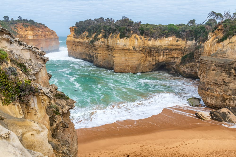 Loch Ard Gorge on a cloudy and stormy day, Great Ocean Road, Australia