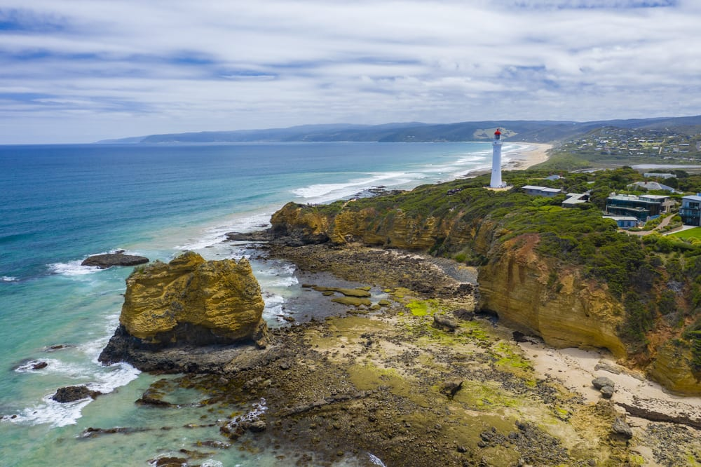 Aerial photo of Split Point Lightouse along the Great Ocean Road
