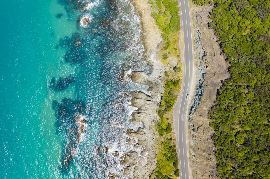Top down aerial view of Great Ocean Road in Australia